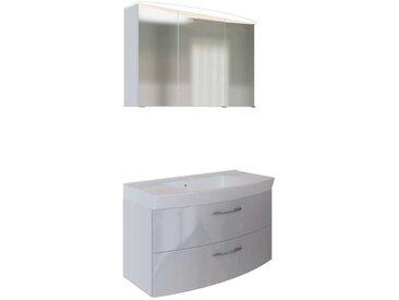 3D Spiegelschrank und Waschtisch in Weiß Hochglanz LED Beleuchtung (2-teilig)