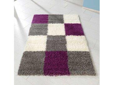 Shaggy Teppich in Grau Lila Weiß Karo Muster