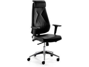 Bürodrehstuhl in Schwarz Echtleder verstellbarer Rückenlehne