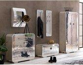 Industriedesign Garderobe in Silberfarben Aluminium beschlagen (sechsteilig)