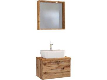 Spiegel und Waschbeckenschrank im Wildeiche Dekor LED Beleuchtung (2-teilig)