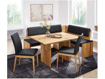 Esszimmer Sitzecke aus Wildeiche Massivholz Kunstleder in Schwarz (4-teilig)