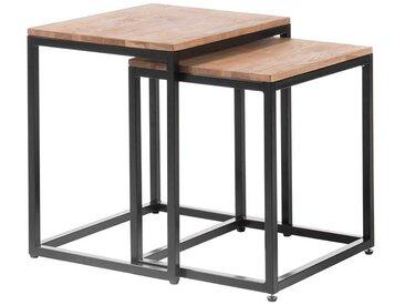 Beistelltischchen aus Asteiche Massivholz Bügelgestell aus Metall (2-teilig)