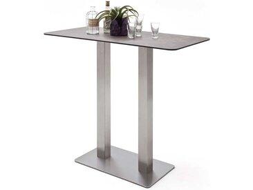 Küchenbartisch mit Keramik Glasplatte Braun Grau
