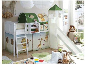 Kinderzimmer Rutschbett mit Zootier Motiven Kiefer Massivholz