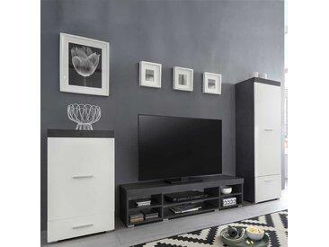 Fernseher Schrankwand in Weiß und Dunkelgrau 240 cm breit (3-teilig)