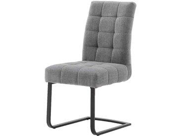 Freischwinger Stühle in Grau Chenillegewebe Metallgestell (2er Set)