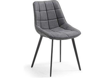 Esszimmerstuhl mit Schalensitz in Dunkelgrau Stahl (2er Set)