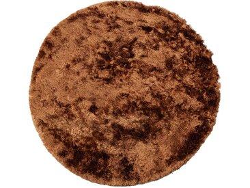 Runder Teppich in Braun Hochflor