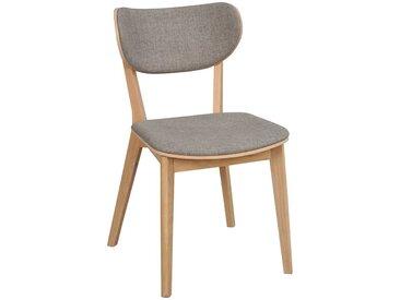 Stühle aus Eiche Massivholz Webstoff Bezug in Hellgrau (2er Set)