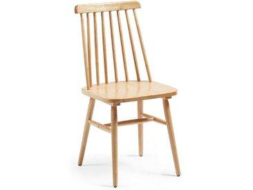 Holzstuhl aus Gummibaum massiv verstrebter Lehne (2er Set)