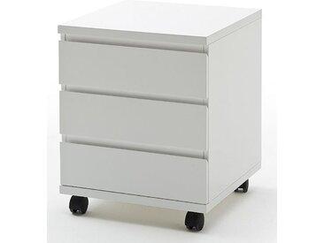 Rollcontainer mit drei Schubladen Weiß Hochglanz