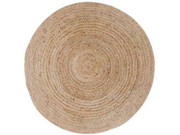 Runder Teppich in Beige Jute