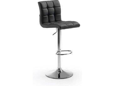 Höhenverstellbare Barstühle in Schwarz Kunstleder drehbar (2er Set)