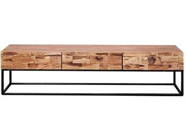 Fernsehtisch aus Akazie Massivholz und Metall Loft Design