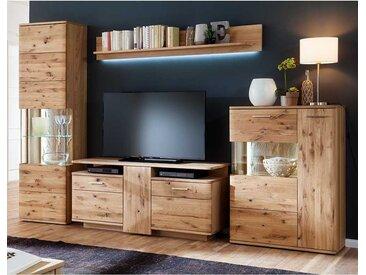 Wohnzimmer Anbauwand aus Eiche Bianco geölt modern (4-teilig)