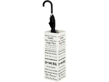 Schirmbehälter in Weiß Schriftzug