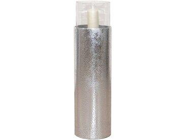 Deko Standwindlicht in Silberfarben Glas Zylinder