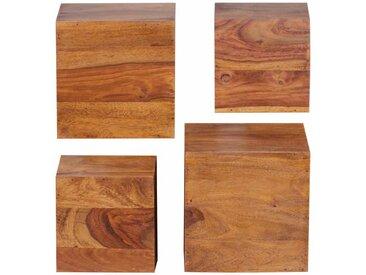 Regalwürfel aus Sheesham Massivholz 25 cm (4-teilig)