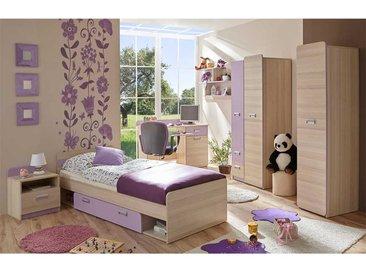 Jugendschlafzimmer in Lila und Eschefarben komplett (6-teilig)