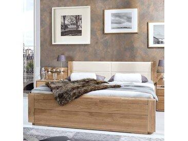 Doppelbett mit Polsterkopfteil in Creme Weiß Eiche