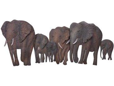 Wanddeko mit Elefanten Motiven Eisen