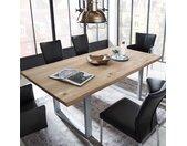 Baumkanten Esszimmertisch aus Wildeiche Massivholz und Metall Loft Design