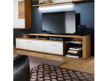 TV Lowboard mit Eiche furniert Weiß 240 cm