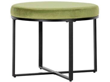 Samt Sitzhocker in Grün rund