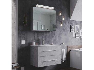 Waschtisch und Spiegelschrank in Beton Grau LED Beleuchtung (2-teilig)