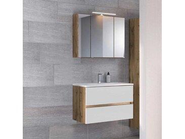 Spiegelschrank und Waschtisch in Weiß und Wildeiche Optik LED Beleuchtung (2-teilig)