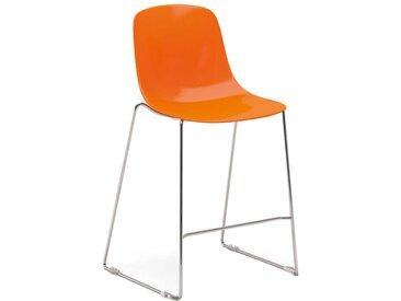 Küchenhocker in Orange aus Kunststoff und Metall (2er Set)