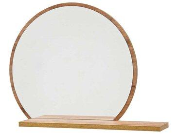 Runder Spiegel in Wildeichefarben Ablage
