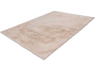 Moderner Teppich aus Kunstfell Creme Weiß