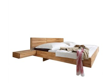 Komfortbett mit Schwebesockel Kernbuche Massivholz