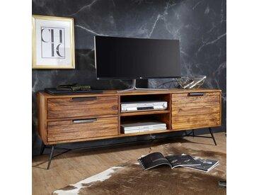 TV Unterschrank aus Sheesham Massivholz und Eisen 160 cm breit
