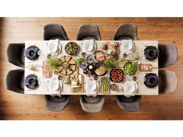 Tisch mit 10 Stühlen aus Eiche Massivholz Dunkelgrau und Braun Microfaser (11-teilig)