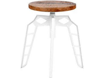 Metallhocker in Weiß rundem Massivholzsitz