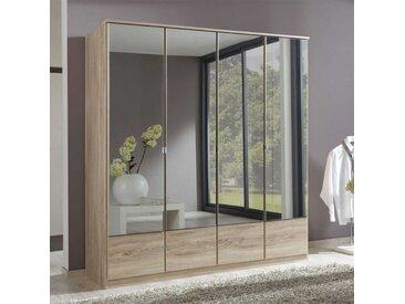 Spiegel-Kleiderschrank in Eiche Sägerau Spiegeltüren