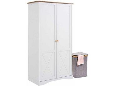 Schlafzimmerkleiderschrank in Weiß und Eiche Optik 190 cm hoch