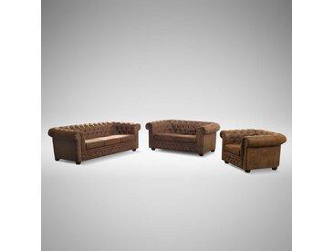 Sofa Garnitur in Braun Chesterfield Optik (3-teilig)