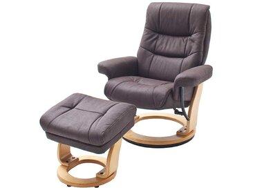 TV Sessel in Braun Stoff Hocker (2-teilig)