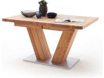 Ausziehbarer Esszimmertisch aus Wildeiche Massivholz V-Fußgestell