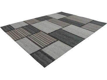 Patchwork Teppich in Beige und Grau Webstoff