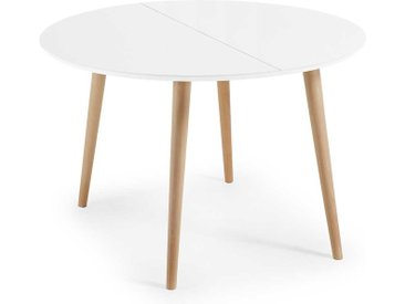 Runder Esstisch in Weiß und Buchefarben Skandi Design