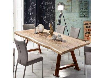 Baumkantentisch aus Mangobaum Massivholz und Eisen A Fußgestell