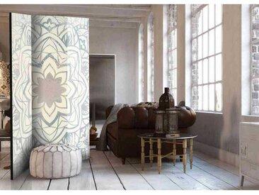 Raumteiler Paravent mit Mandala Motiv Hell Grau und Creme Weiß