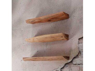 Wandregal aus Akazie Massivholz Baumkante (3er Set)