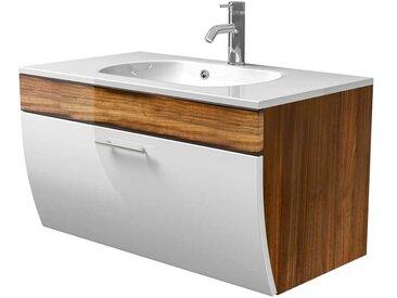 Badezimmer Waschbeckenschrank in Weiß Hochglanz Walnuss 90 cm