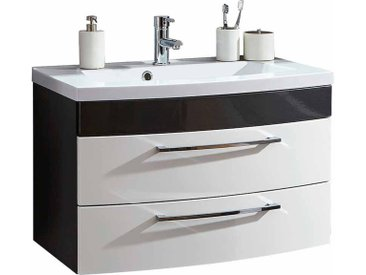 Waschtischunterschrank mit 2 Schubladen Weiß Hochglanz Anthrazit